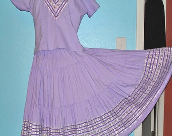 Sale - all clothing! See shop announcement — 1950s Vintage Rickrack Fiesta Lavender Cotton Patio Dress  — Size M-L