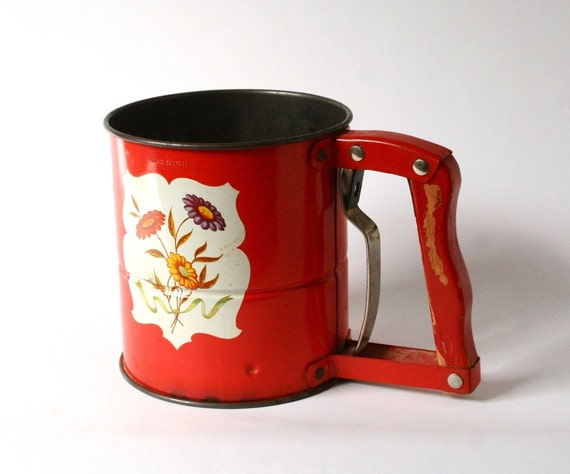 Vintage Red Flour Sifter Androck Sifter Hand I Sift