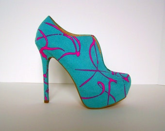 Light Turquoise Handpainted Platform Booties