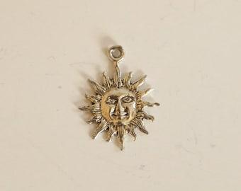 SALE!!!!   Vintage Sun Sterling Silver Pendant Charm