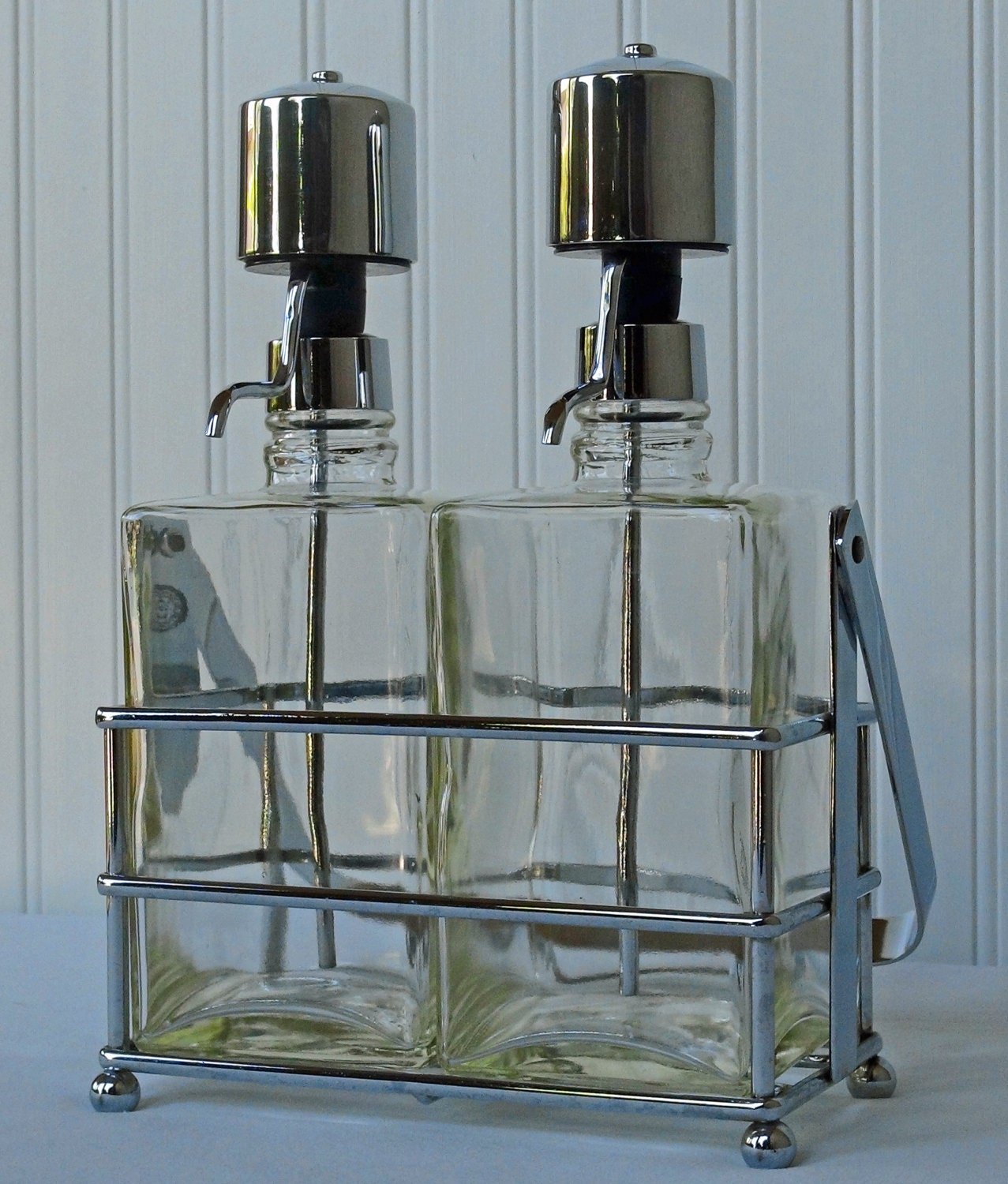 3 Piece Liquor Bottle Pump Decanter Set Chrome By Redouxchic