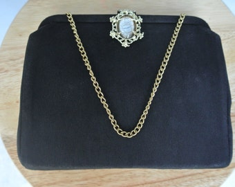Vtg 1950s 1960s Black Clutch with Clear Stone Ornate Clasp Chain Strap