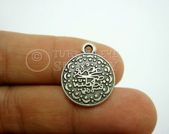 Coin, 15 piece Turkish Antique Matte Silver Plated Ottoman Coin Replica Charms, Pendant, Findings, Double Sided 13x15mm, Good Luck Charm