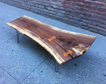SOLD - Black Walnut Live Edge Coffee Table, with Amazing Crotch-end & Butterflies/Bowties Inserts