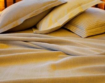 Linen Bedspread / Soft Linen Plise Corrugated Bed Cover / Linen Blanket / Linen Throw Blanket / Linen Plise Plaid