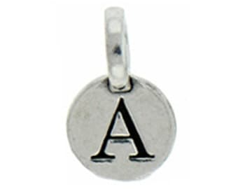 1 pcs - Round Silver Initial Charm 9mm Letter A - by TIJC - SPRA
