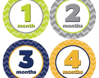 Monthly Baby Milestone Stickers Baby Boy Baby Shower Gift One-Piece Baby Stickers Monthly Baby Stickers Baby Month Stickers  008