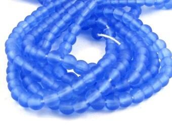 Matte Sapphire Blue 3mm Smooth Round Czech Glass  Beads 100pc #S15