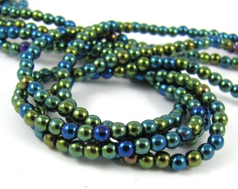 Iris Green 3mm  Round Czech Glass  Beads 100pc #506