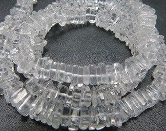 16 Inches Beautifull 100%  Natural Stone Cristal Quartz  Smooth Polish Heishi Squar Bead Shape Size 4  mm to 5 mm Approx