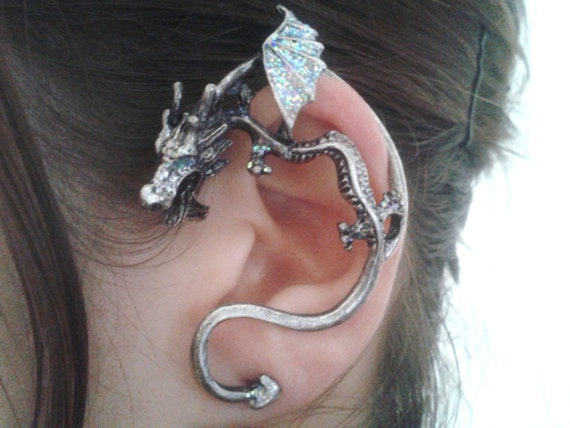 Silver dreamy dragon ear cuff - Game of thrones dragon ear cuff ...