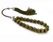 Army Green Worry Beads Meditation Komboloi Silver Tone Metal Master Bead & Traditional Tassel - sunnybeadsbythesea
