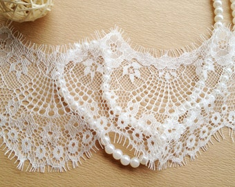 White Embroidery Tulle Lace Trim For DIY Wedding Lace Trim 4.72 inches wide 3 yards