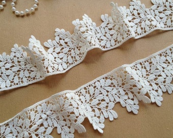 White Cotton Lace Embroidered Hollowed Out Lace Trim 2.36 Inches Wide 2 Yards