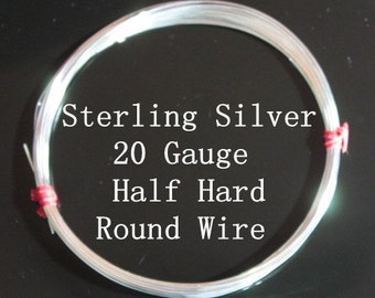 20 g ga Gauge Sterling Silver Wire - Round - Half Hard - 6 inches (RW2001SS)