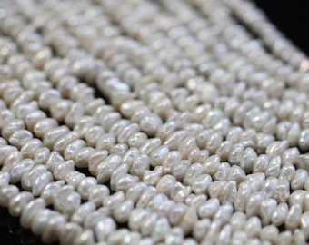 Natural White Center-drilled Keishi Freshwater Pearls, 4 - 6 mm, 16 inches, 120 beads (FP0101KS)