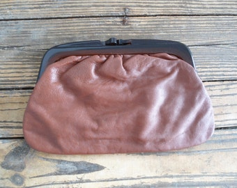 Vintage Genuine Leather 70s Clutch Made in Italy/ Italian Leather/ Lucite Closure