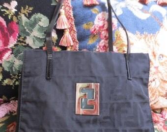 Authentic Black Fendi Icon shoulder bag  FF logo coated canvas shoulder bag  Handbag