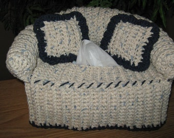 Crochet Couch Tissue Box Cover with accent color on edges (Color Denim with Navy & Etsy :: Your place to buy and sell all things handmade Aboutintivar.Com