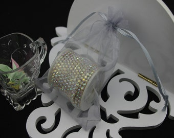 100  2.75''x3.54''  Silver Organza Jewelry Gift Pouch Bags Great For Wedding favors, sachets, beads, jewelry, and more