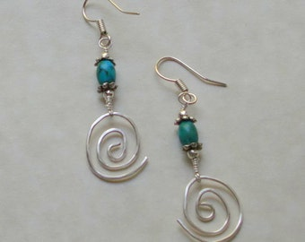 Turquoise Gemstone Wire Wrapped Earrings