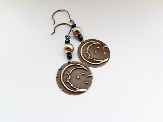 crescent moon embossed earrings