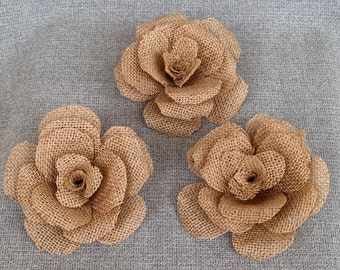 """3 Large 5"""" Burlap Flower - Rustic Wedding Decoration, Craft Projects, Home and Special Occasion Decoration"""
