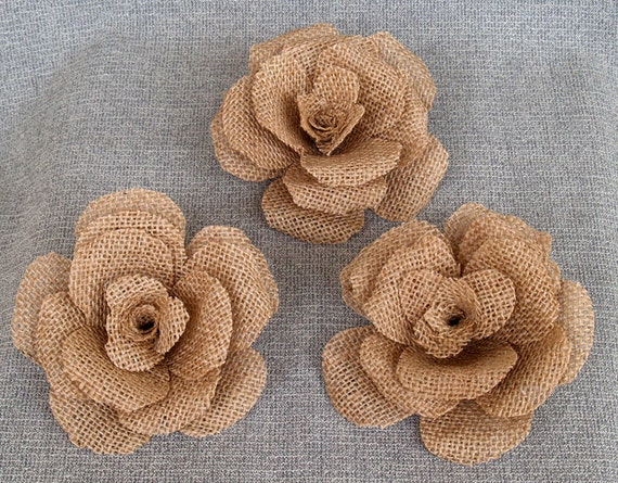 burlap craft ideas items similar to 3 large 5 quot burlap flower rustic wedding 1184