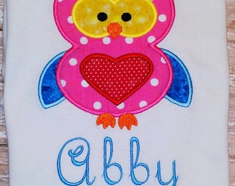 Personalized Owl Applique Shirt with Heart