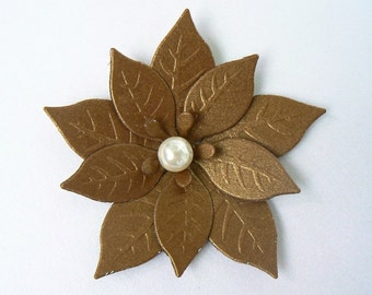 "8 Poinsettias, shimerring Light Brown, with acrylic Pearl, 2.75"" great for Christmas Scrapbooking, Embellishments, Garlands, Cupcake Toppers"