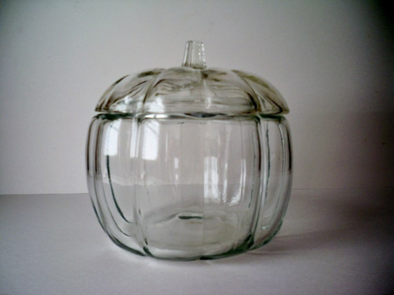 1980s Vintage Clear Glass Pumpkin for Halloween or Thanksgiving Cookie or Candy Jar
