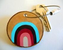 RETRO RAINBOW-painted wooden keychain pink,painted wood keychain,handpainted keychain,handmade keychain,handmade jewelry,handpainted jewelry