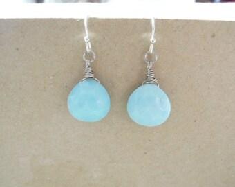 Baby blue beads earrings. Simple earrings. Everyday earrings. Wire wrapped earrings