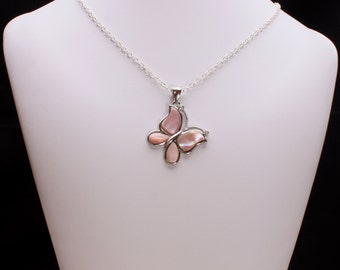 Pink Shell Pearl Butterfly Pendant Necklace