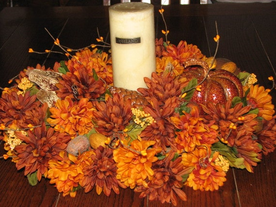Extra large fall centerpiece pumpkin nuts orange brown rust