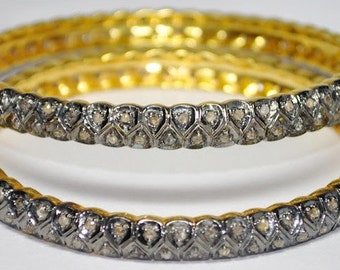Victorian Reproduction 8.21 ctw Rose Cut Diamond Wedding Anniversary Bangles