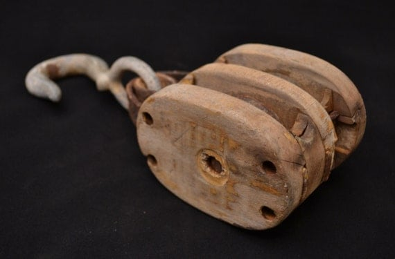 Vintage Double Wheel Wooden Block Pulley With Hook Nautical