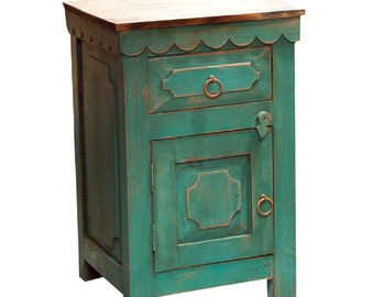 Rustic nightstand with turquoise (13314)