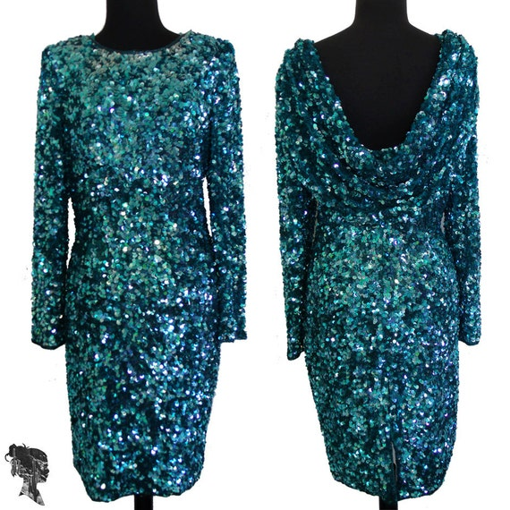 Vintage 80s Women Peacock Teal Sequin Dress with by ParagonDesert