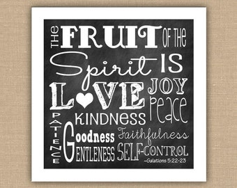 Fruit of the Spirit Scripture Subway Art PRINTABLE.  8x10, 11x14, or 12x12  Wall Art. Galatians 5:22-23.  Kitchen Decor.  DIGITAL file.