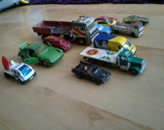 few old match box and corgi cars and vans