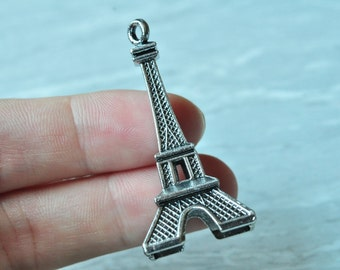 5pcs Antique Silver Large 3D Eiffel Tower Charm Pendant Letter Paris 47x22mm PP170