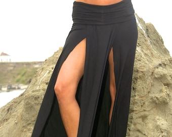 SEXY ELEGANT  boho beach resort festival burning man double front slit toga maxi skirt with fold over waistband