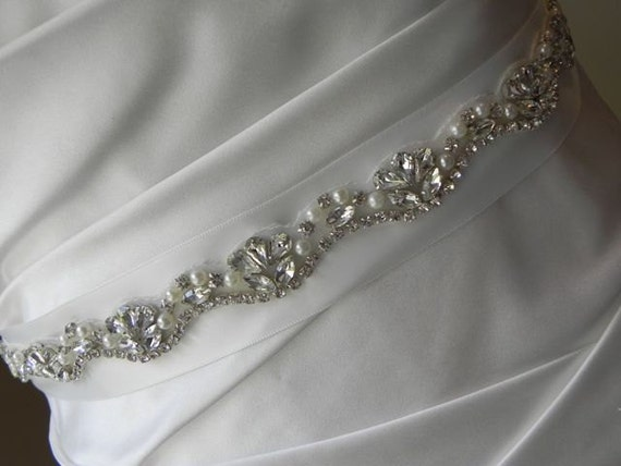 Understated Pearl and Rhinestone  Bridal Sash - Wedding Dress Belt