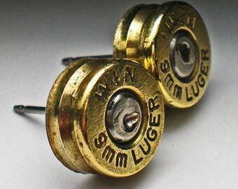 9mm Winchester Brass Bullet Head Stud Post Earrings Bullet Jewelry Steampunk