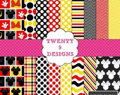 Minnie Mouse Inspired Digital Paper Pack (Red) - INSTANT DOWNLOAD