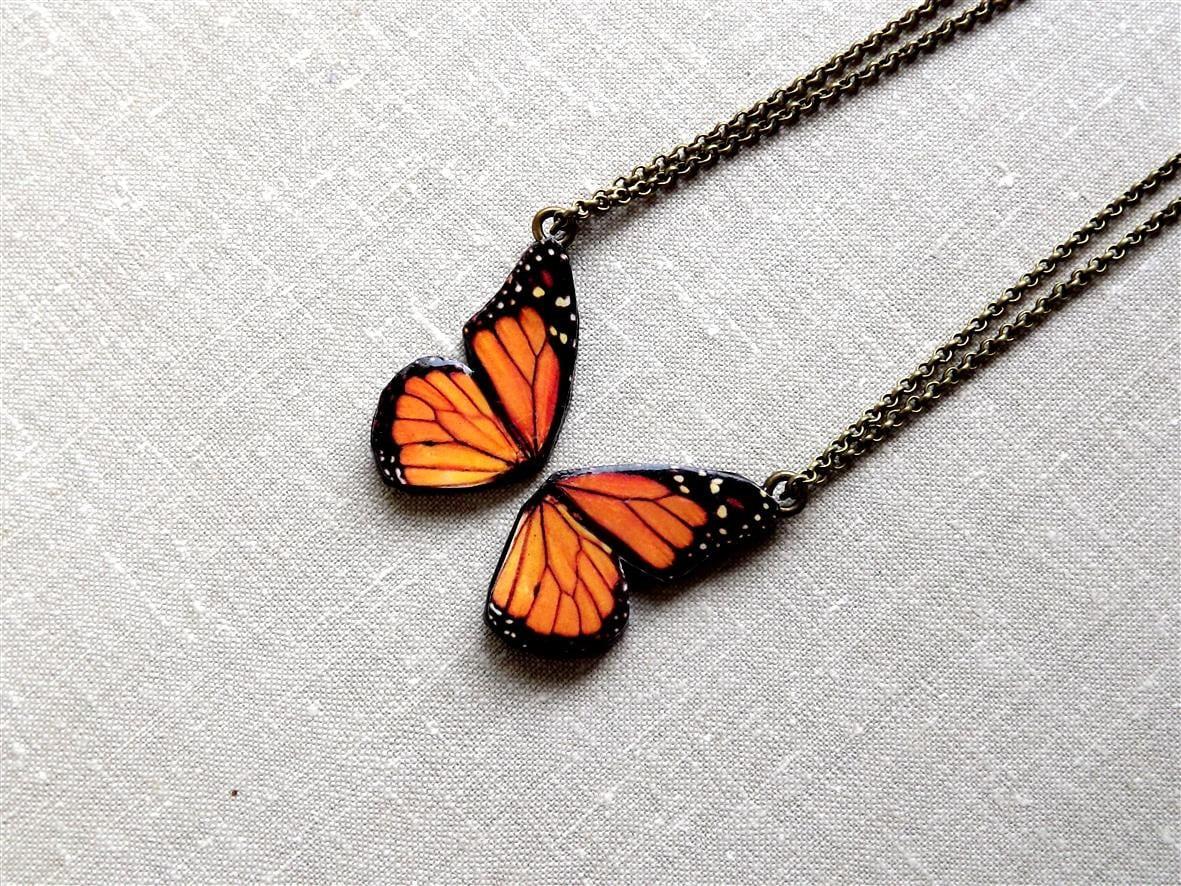 butterfly monarch butterfly friendship necklace best friend