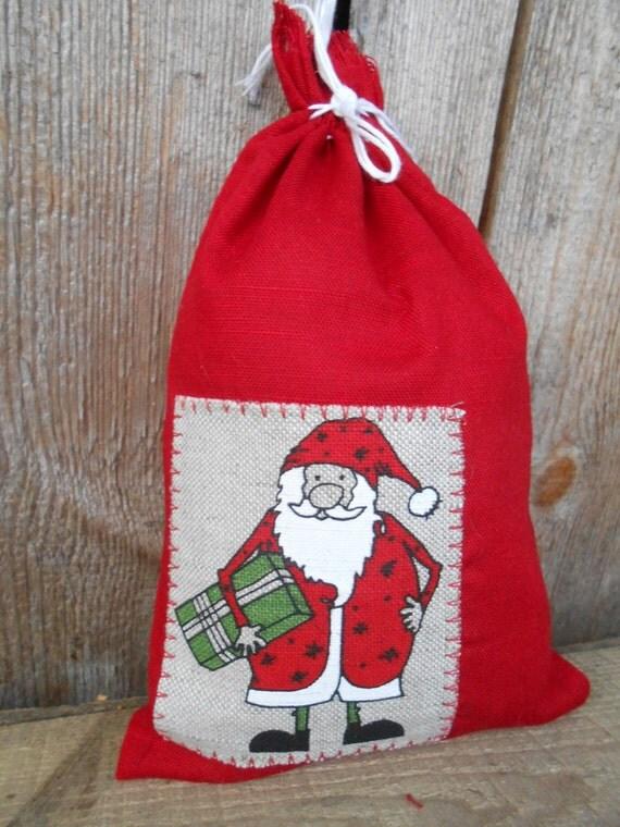Christmas gift bag santa drawstring cotton reusable