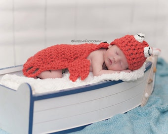 Ready to Ship Crab Hat & Cape Set Newborn Baby Crochet