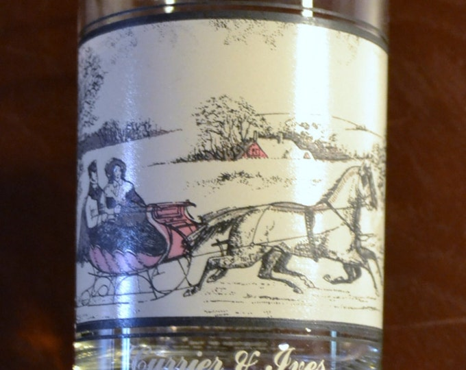 Vintage  Currier and Ives Glass The Road in Winter Arbys Collectible 1978 PanchosPorch